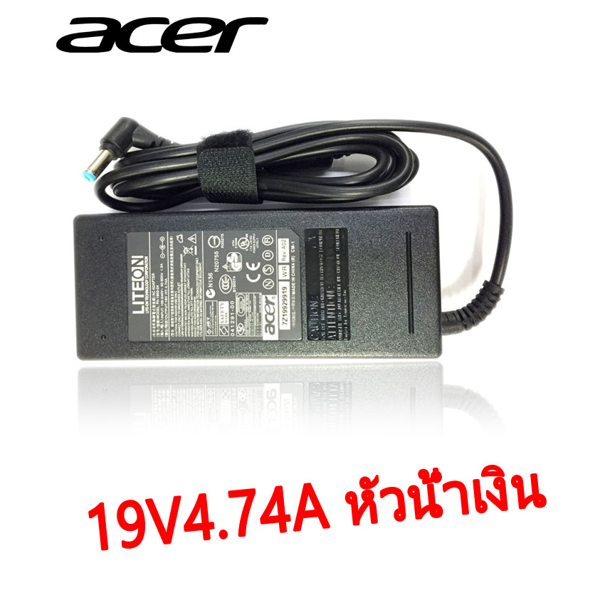 ACER AC adapter ที่ชาร์จ notebook 19V4.74A หัวน้ำเงิน ของแท้-black