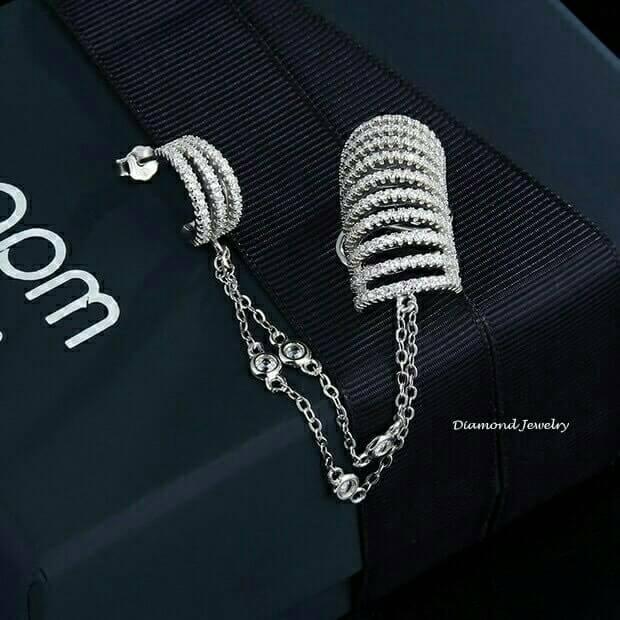 พร้อมส่งAPM Diamond Earring งานเพชร CZ แท้