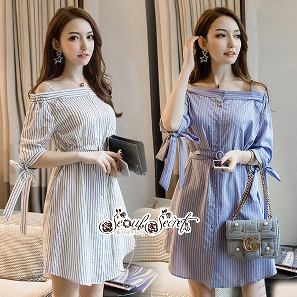 Lady Chic Shoulder Dress Cutting Blue&White Square cloth