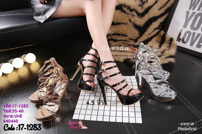 รองเท้าส้นสูง วัสดุหนังแววเงานิ่มสวย