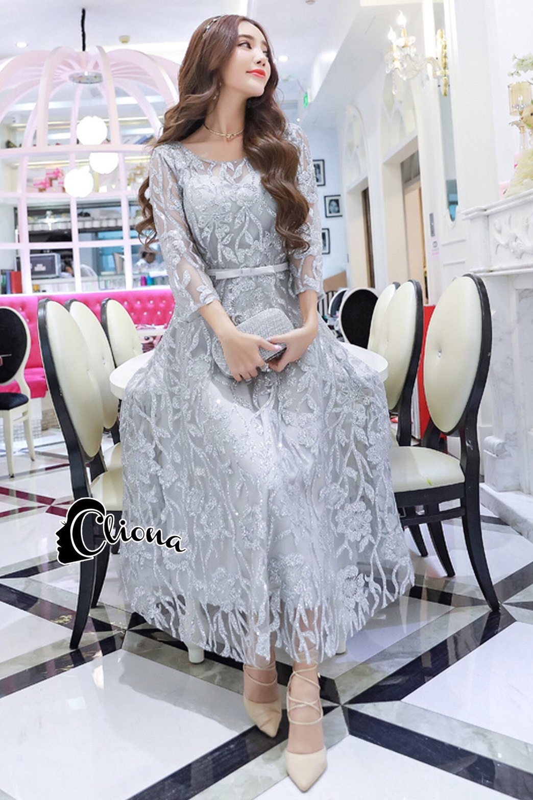 ชุดเดรสเกาหลี พร้อมส่งMiss Grey Princess Stylish Luxury Long Dress