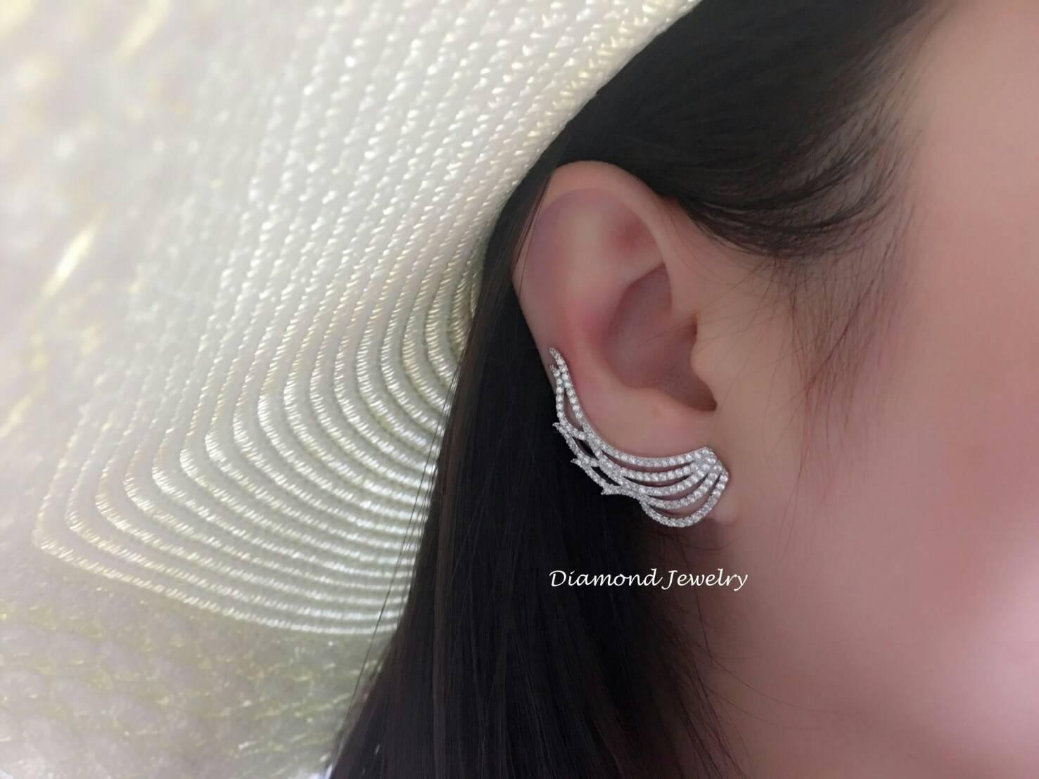 พร้อมส่ง Diamond Earring งานเพชร CZ แท้ ดีไซส์งานเกี่ยวอ้อมหู