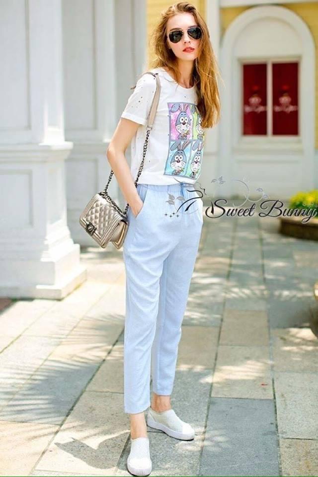 เสื้อผ้าเกาหลี พร้อมส่งชุดเสื้อ+กางเกง เสื้อผ้ายืดสีขาวเนื้อดีนุ่มใส่สบาย