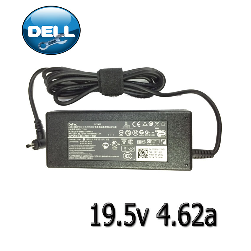 DELL AC adapterที่ชาร์จ notebook 19.5v4.62a หัวกระสุน แท้