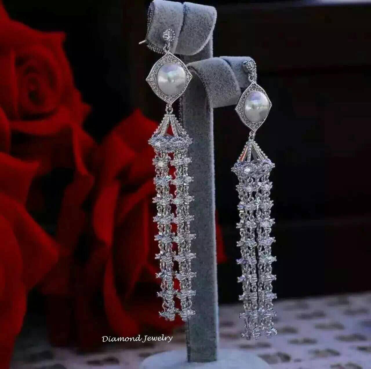 พร้อมส่ง Diamond Earring ต่างหูเพชร CZ แท้