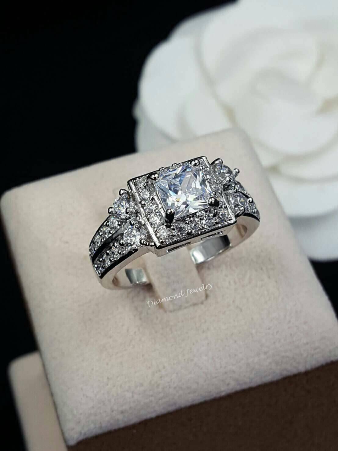 พร้อมส่ง Diamond Ring งานเพชร CZ แท้ เพชร princess cut