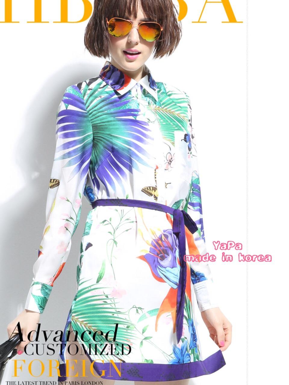 เสื้อผ้าเกาหลี พร้อมส่ง เดรสแบรนดังจาก Miu Miu ปริ้นลายมวลหมู่ ดอกไม้ และ ผีเสื้อ