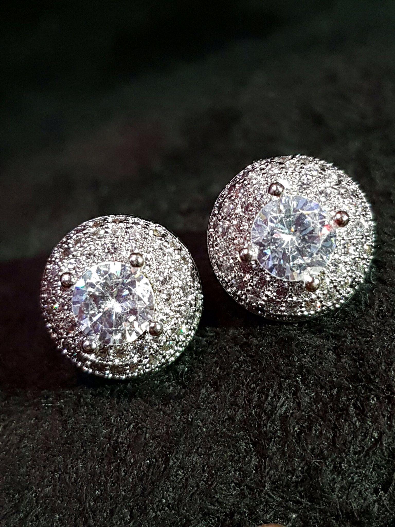 พร้อมส่ง Diamond Earring ต่างหูทรงกลม งานเดียวกับเกรดJewelry ขึ้นห้าง