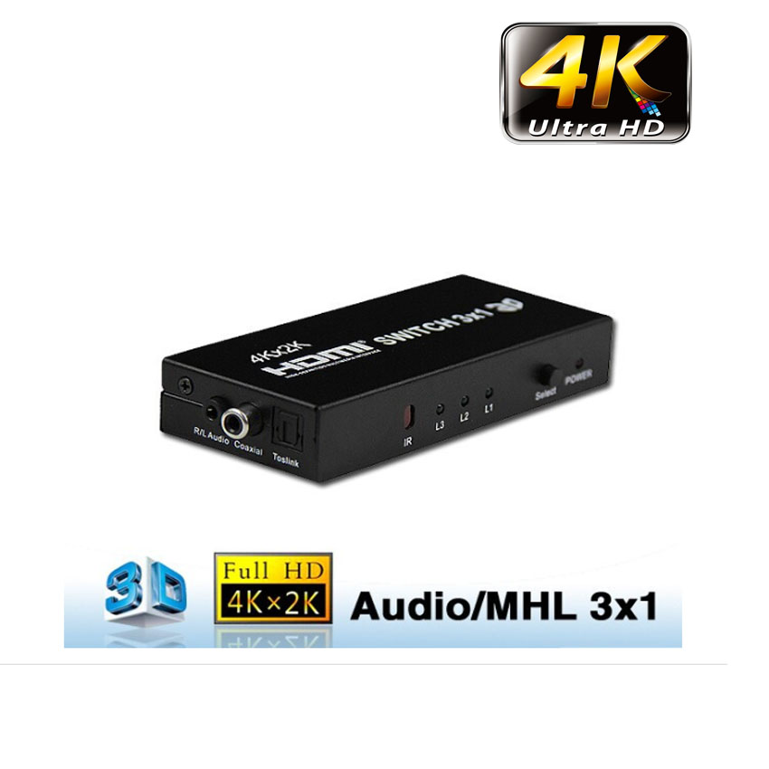hdmi switch 3x1 full hd 3D 4kx2k with optical 5.1
