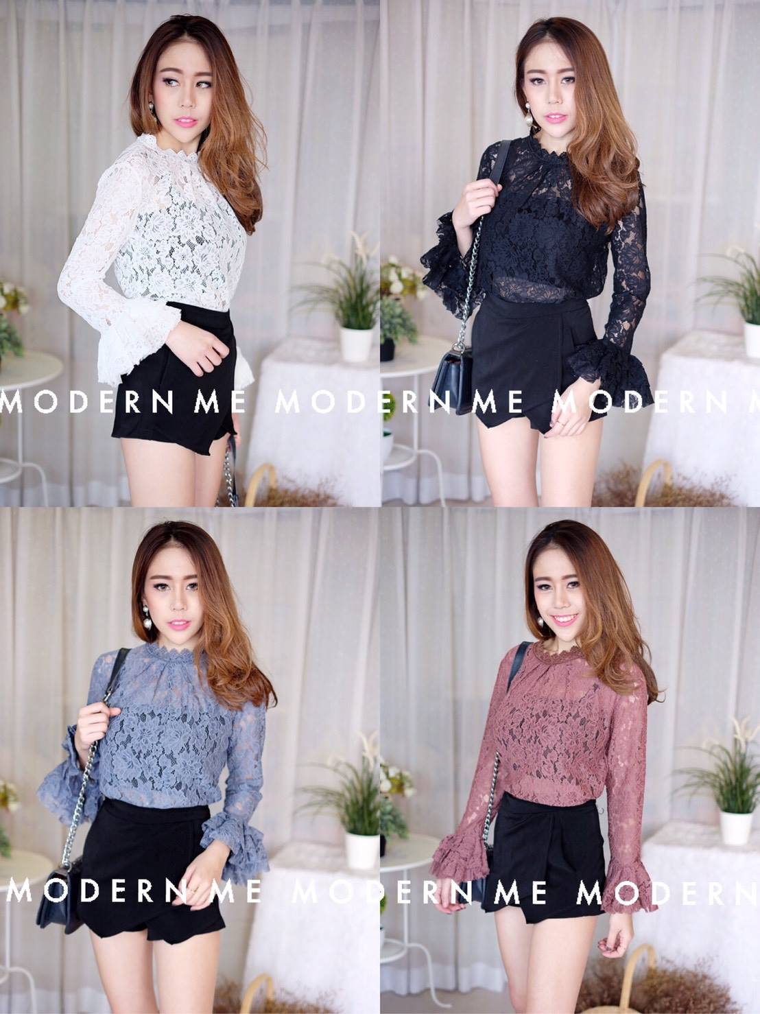 เสื้อผ้าเกาหลีพร้อมส่ง เสื้อลูกไม้งานสวยทรงเป๊ะดีไซน์เก๋ได้ลุคสาวหวานสุดๆค่า