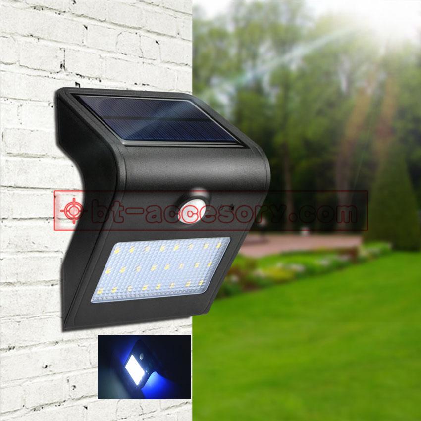 Solar motion sensor lamp light ไฟติดผนังโซล่าเซลล์พลังงานแสงอาทิตย์ 24 led white +4led blue