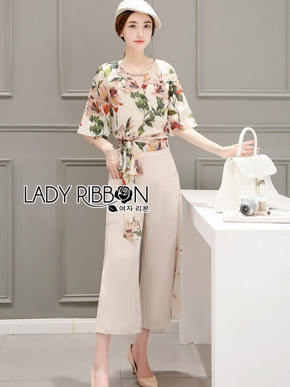 เสื้อผ้าเกาหลี พร้อมส่งเซ็ตเสื้อพิมพ์ลายดอกไม้สไตล์วินเทจและกางเกงทรง culottes ลุคนี้มาแบบเข้าชุด