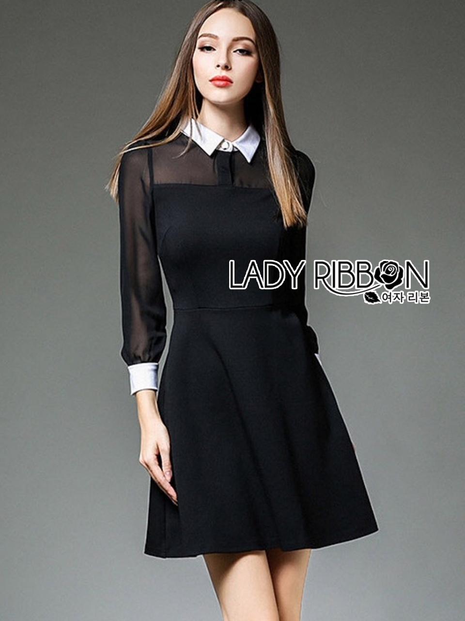 ชุดเดรสเกาหลี พร้อมส่งมินิเดรสผ้าชีฟองและผ้าคอตตอนสีดำตกแต่งปกขาว