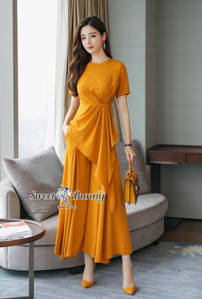 Casual Drape Top With Wide Pants Set