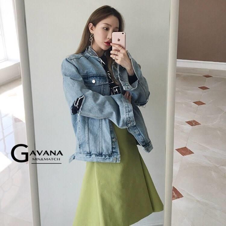 เสื้อผ้าเกาหลีพร้อมส่ง Jacket jean รุ่นขาดศอก ขาดแบบเกร๋ๆ