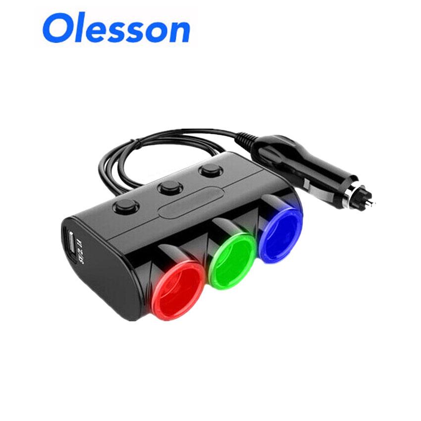 Olesson 1523แยกช่องบุหรี่ในรถ 12v 24v 3ช่อง มี 2 usb 120w