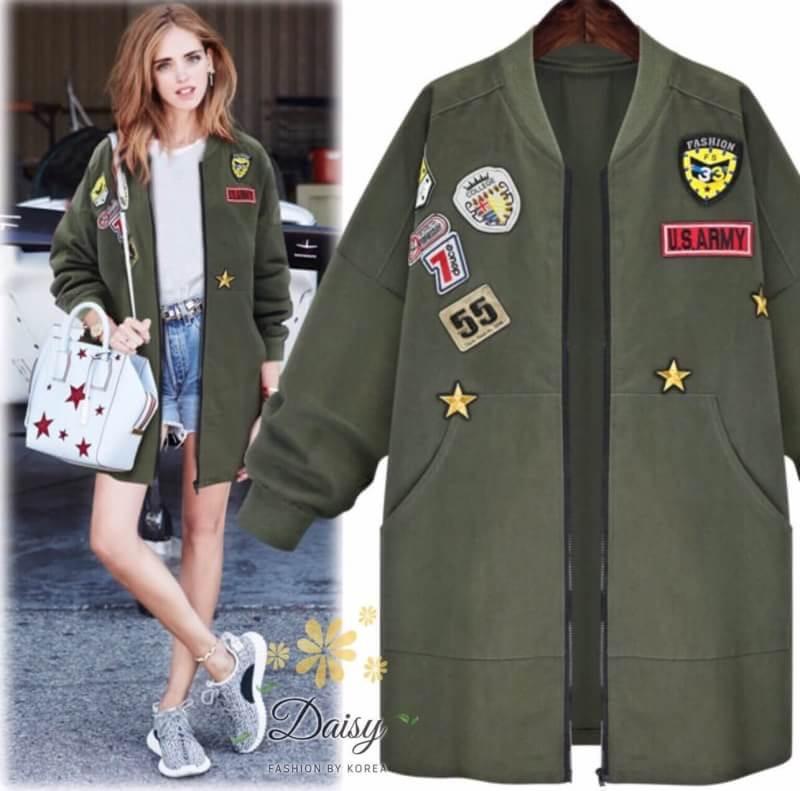 เสื้อผ้าเกาหลี พร้อมส่งเสื้อคลุมตัวยาว สีเขียวทหารแบบยาวคลุมสะโพก