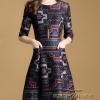 Dress คอกลม แขน 5 ส่วน เนื้อผ้าโพลีเอสเตอร์