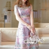 Maxidress Dimensional flowers Lace Sweet Color Embroidery