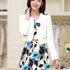 เสื้อผ้าเกาหลี พร้อมส่ง เสื้อสูทแขนยาวสีขาว + เดรสสั้นลายดอกไม้สีฟ้า