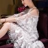 ชุดเดรสเกาหลีพร้อมส่ง เดรสสีขาวปักผีเสื้อ 3D เป็นแบบเว้าช่วงไหล่