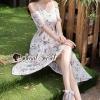 ชุดเดรสเกาหลีพร้อมส่ง Daisy Cami Tie Lace Flora Maxi Dress