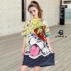 เสื้อผ้าแฟชั่นเกาหลีพร้อมส่ง Oversize t-shirt สกรีนลายการ์ตูนหน้าน้องหมาทั้งหน้า-หลัง