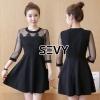 ชุดเดรสเกาหลี พร้อมส่ง Mini dress คอกลมแขนสี่ส่วน