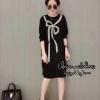 ชุดเดรสเกาหลีพร้อมส่ง Dress แขนยาว ผ้ายืด สีดำลายโบว์