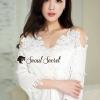 เสื้อผ้าเกาหลีพร้อมส่ง Coral Ivory Lace Camisole