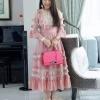 ชุดเดรสเกาหลีพร้อมส่ง Dress คอกลมแขนสามส่วน