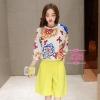 เสื้อผ้าเกาหลี พร้อมส่งเซตเสื้อดอกไม้ + กางเกง เหลือง