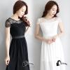 ชุดเดรสเกาหลี พร้อมส่งlong dress ช่วงบนเป็นงานลูกไม้