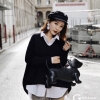เสื้อผ้าเกาหลีพร้อมส่ง Set เสื้อ 2pcs. เสื้อขาว+เสื้อไหมพรมดำ