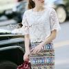 เสื้อผ้าเกาหลี พร้อมส่งGypsy Tile Print Skirt Lace Blouse Set