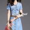 ชุดเดรสเกาหลี พร้อมส่งStickly Flora Denim Dress