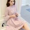 ชุดเดรสเกาหลี พร้อมส่งmini dress สีชมพูพาสเทล