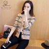 เสื้อผ้าเกาหลีพร้อมส่ง เสื้อคลุมไหมพรมแขนยาวลายขวางแบบใหม่ล่าสุด