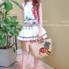 ชุดเดรสเกาหลีพร้อมส่ง เดรสตัวสั้นสุดน่ารัก สกรีนลายหนูน้อยหมวดแดง
