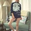 ( พร้อมส่งเสื้อผ้าเกาหลี) เสื้อคลุมซิปหน้า พิมพ์ลายคมชัด ใส่คู่กางเกง Kyonite Short แต่งกระดุมปั๊ม น่ารักมากๆ งานติดป้าย NOKARA