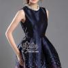 ชุดเดรสแฟชั่นพร้อมส่ง Sparkling British Navy Color Sleeveless Dress