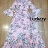 ชุดเดรสเกาหลีพร้อมส่ง Maxi Dress แขนระบายสีชมพูลายดอกไม้