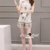 เสื้อผ้าเกาหลี พร้อมส่งBohe Teffy Graphic Soft Tone Color Preint Set