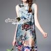 ชุดเดรสเกาหลี พร้อมส่ง.Forestta Coral Blue Tone Print Nifty Dress