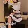 ชุดเดรสเกาหลี พร้อมส่งLadiest Star Layer Skirt Lace Dress