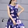 ชุดเดรสเกาหลี พร้อมส่งMini Dress ผ้าซาตินสีน้ำเงินเข้มปริ้นลายดอกไม้สีชมพู