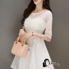 ชุดเดรสเกาหลี พร้อมส่งEmbroidered White Pearl Dress