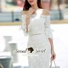ชุดเดรสเกาหลี พร้อมส่งOpenShoulder Lace Bell Sleeve Dress