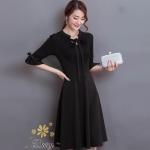 ชุดเดรสเกาหลี พร้อมส่งเดรสสีดำแบบสุภาพ ด้านหน้าอัดพรีทท