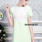 เสื้อผ้าเกาหลี พร้อมส่งชุดเดรสทรง A แขนสั้นสีเขียวพาสเทลผ้าโพลีเกรดพรีเมี่ยม